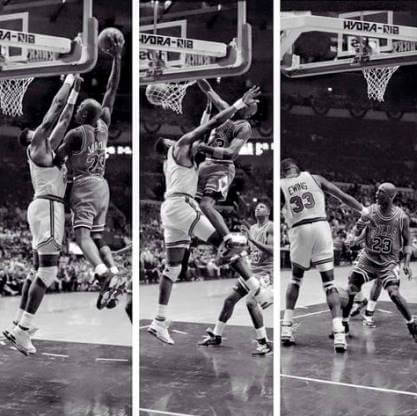 Michael Jordan sobre Pat Ewing
