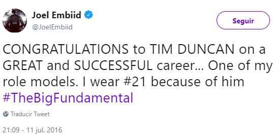Joel Embiid Tweet
